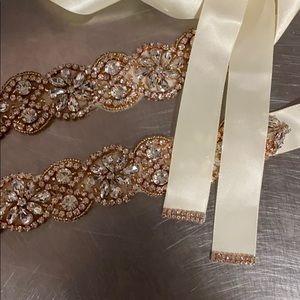 Stunning rose gold crystal bridal gown belt